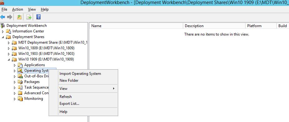 Import Operating System MDT