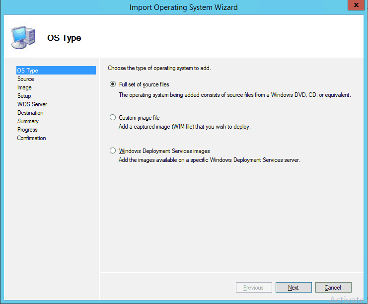Import Operating System Wizard