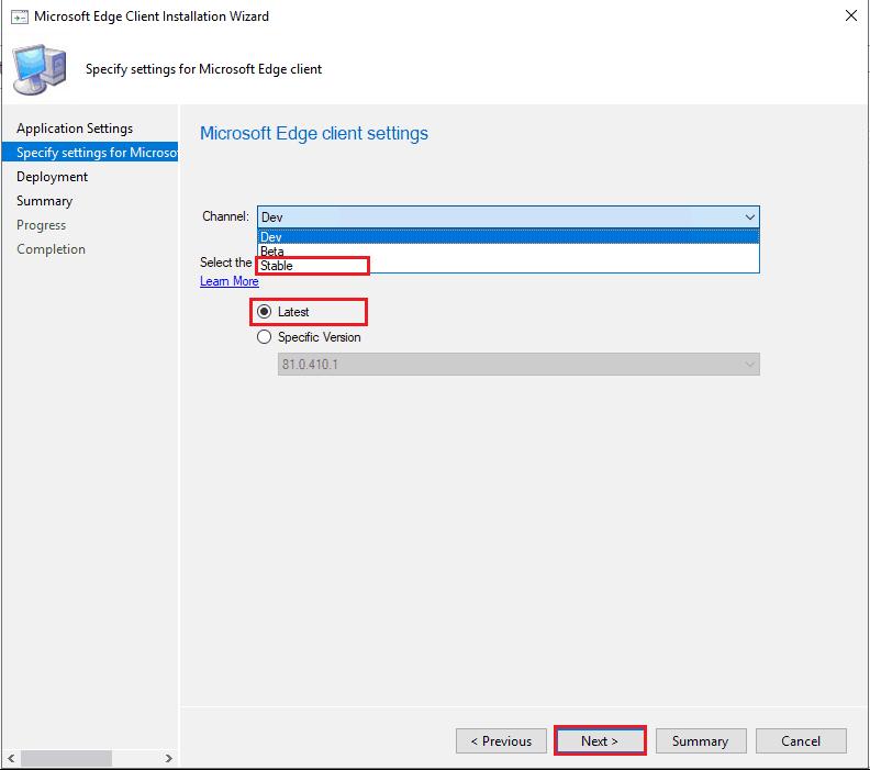 SCCM Upgrade Microsoft Edge