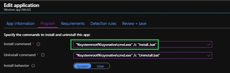 Intune installation command line - System32 Vs Syswow64