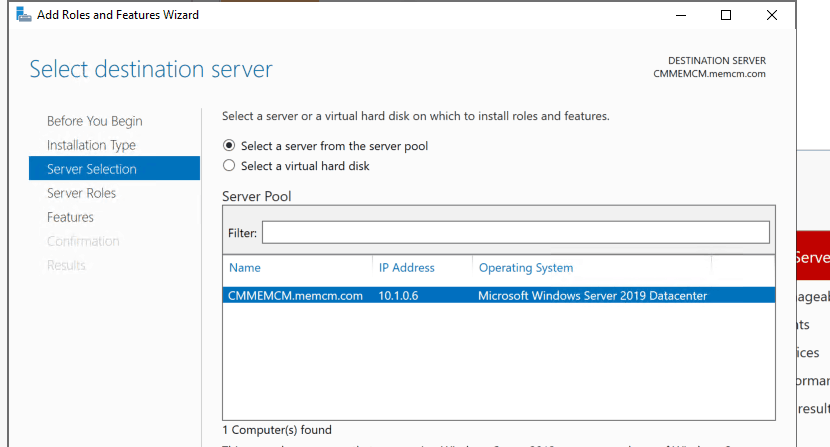 Select Destination Server for WSUS installation - Install WSUS for ConfigMgr