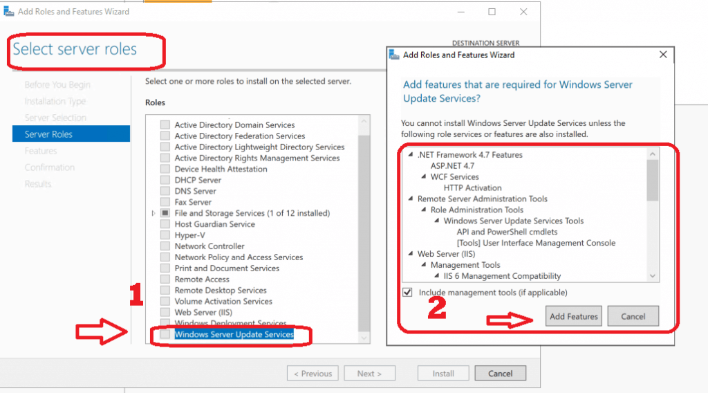 Select Server Roles - Install WSUS for ConfigMgr