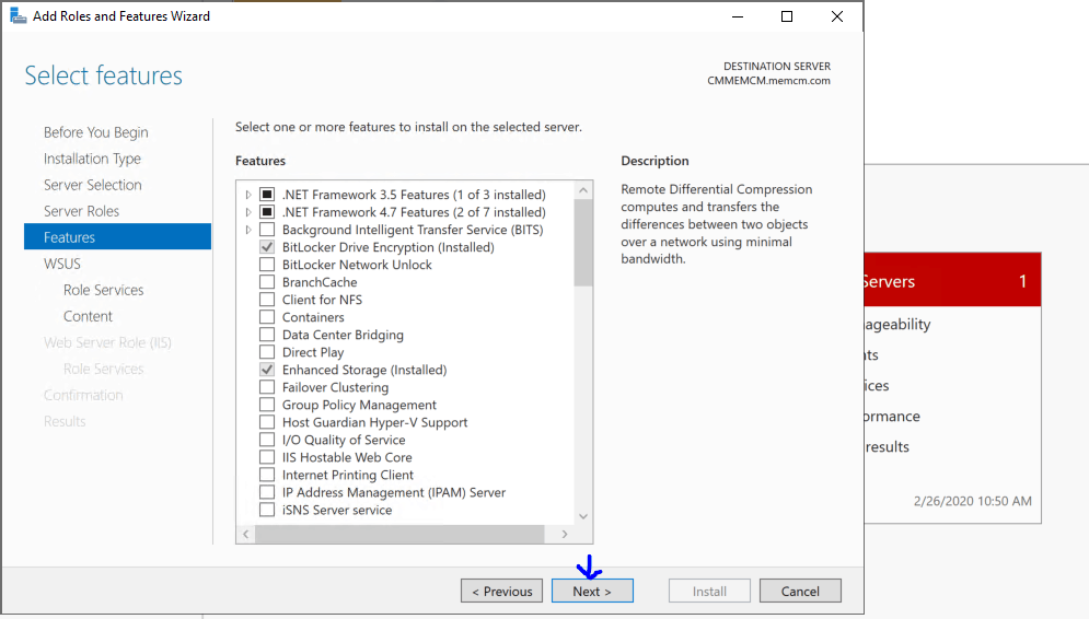 Select Features for WSUS - Install WSUS for ConfigMgr