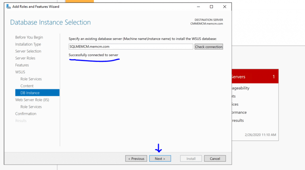 WSUS Database Instance Selection