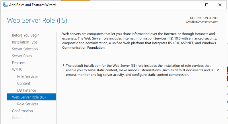 Web Server Role (IIS) for WSUS Installation