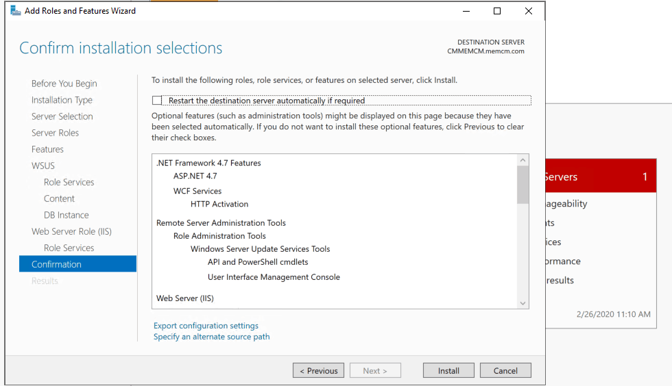Install & Confirm Installation Selection