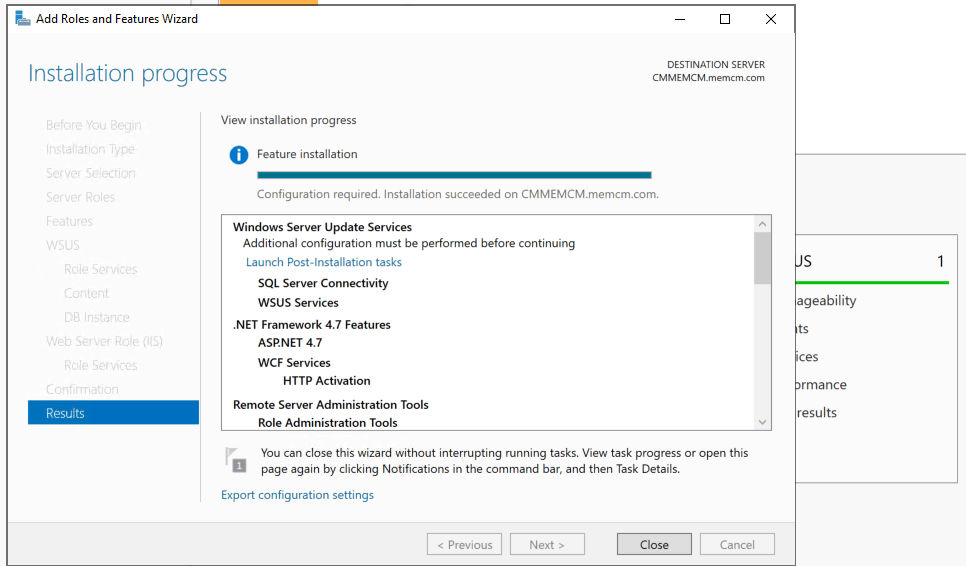 Results for WSUS Configuration SCCM