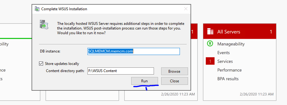 Complete WSUS Installation