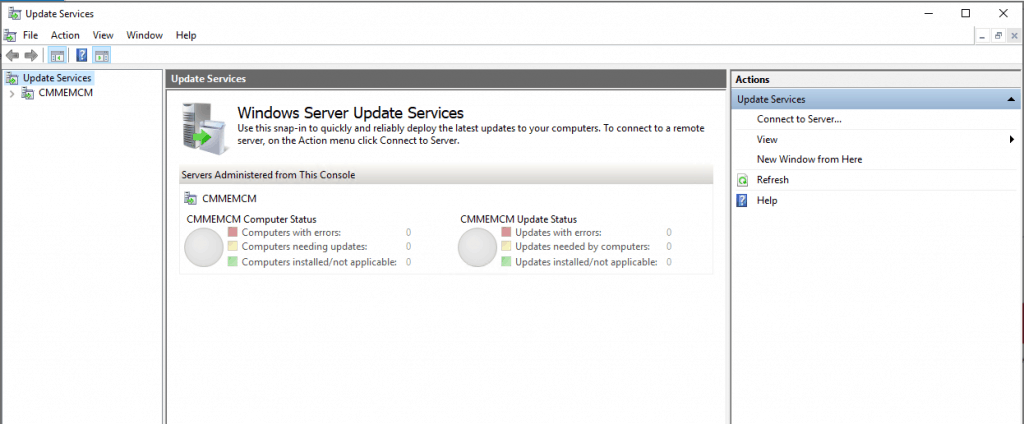 Windows Server Update Service (WSUS) console