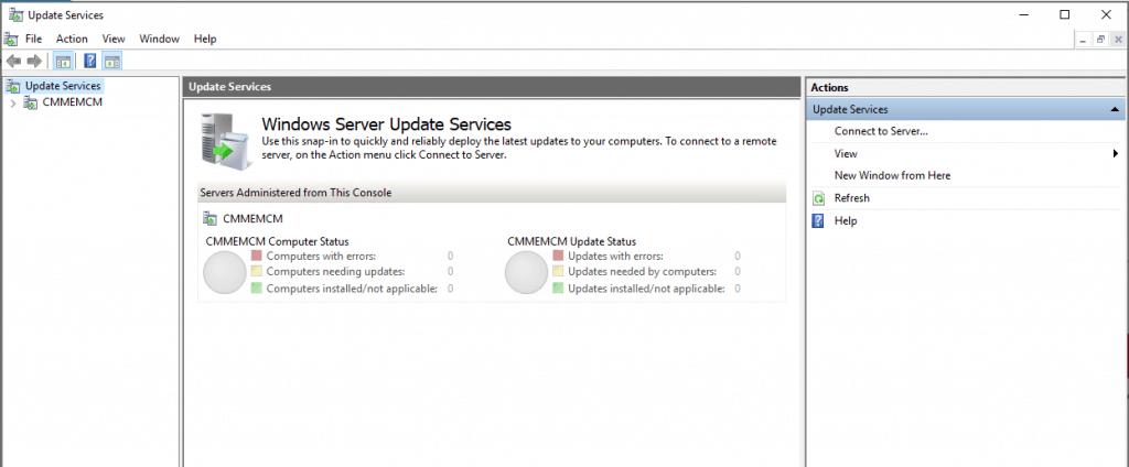 Windows Server Update Service (WSUS) console