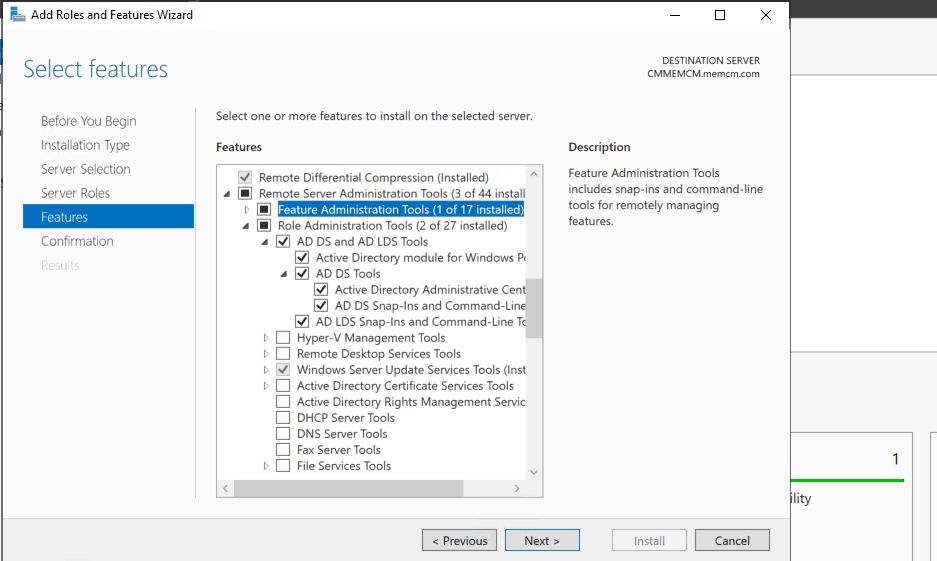 Select Features - AD DS and AD LDS Tools