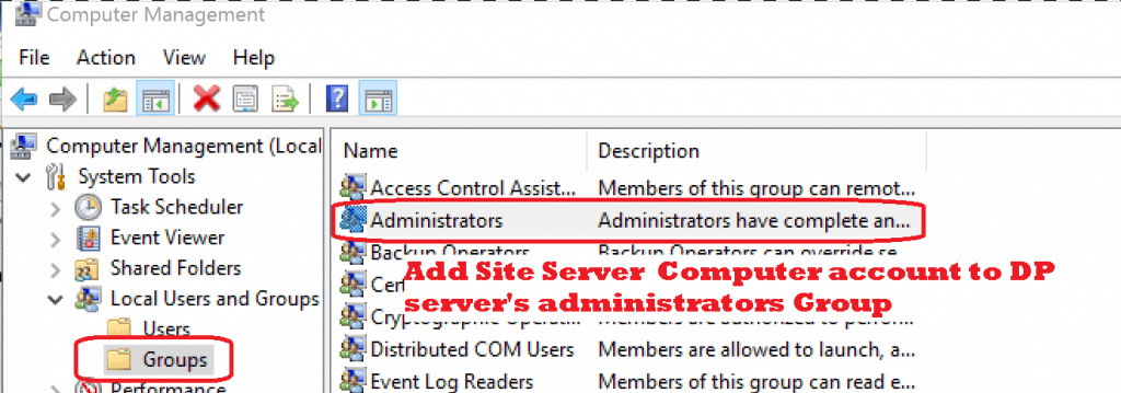 Add server account to administrators group