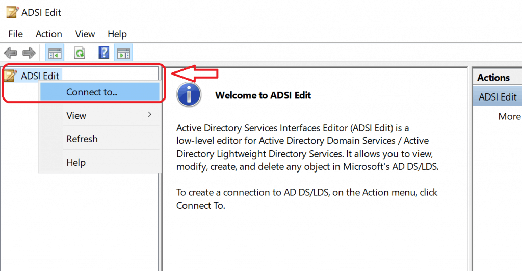 ADSI Edit.MSC Connect To - Create System Management Container