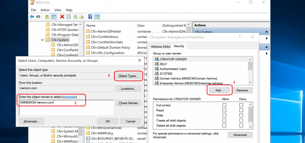 Add computer accounts of SCCM Site System Servers
