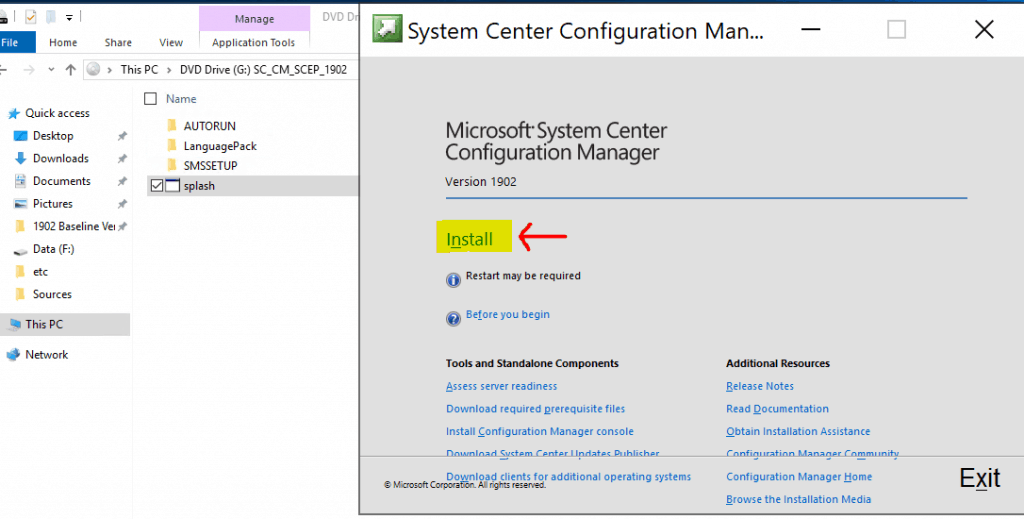 Microsoft Endpoint Manager Configuration Manager - Install