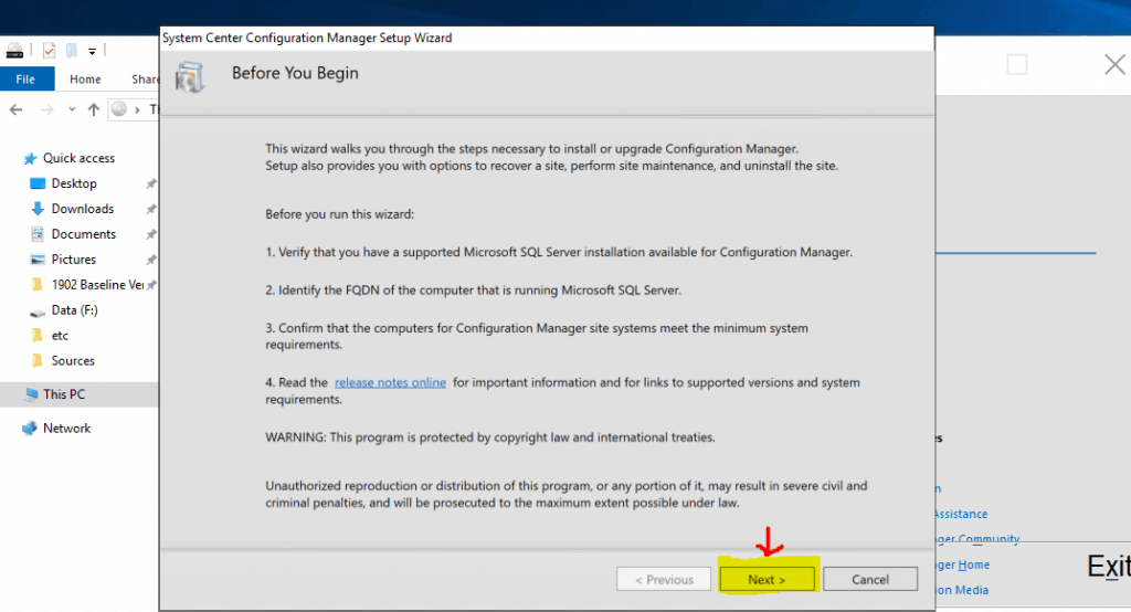 Before you begin SCCM Primary Server Installation