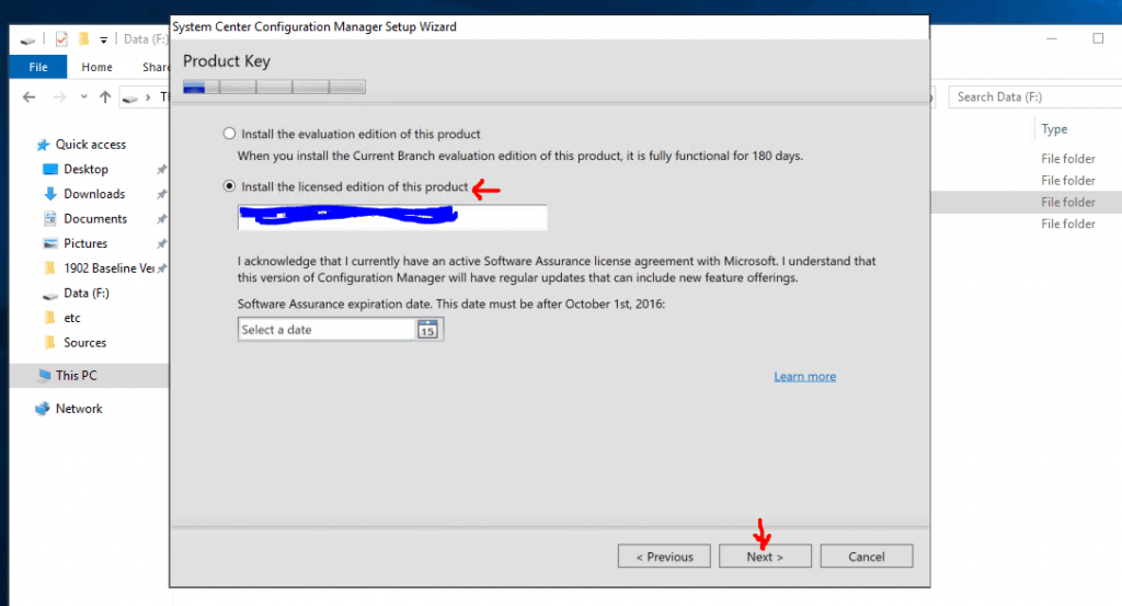 Product Key Selection Page for SCCM Current Branch
