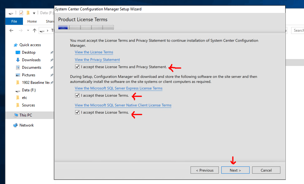 Product License Terms - for SCCM Primary Setup