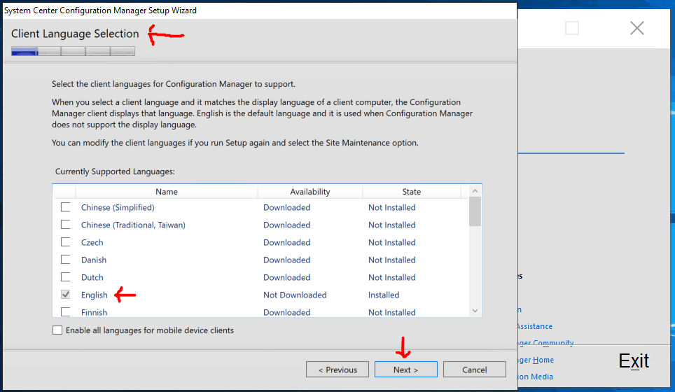 Client Language Selection for SCCM Primary Server Installation