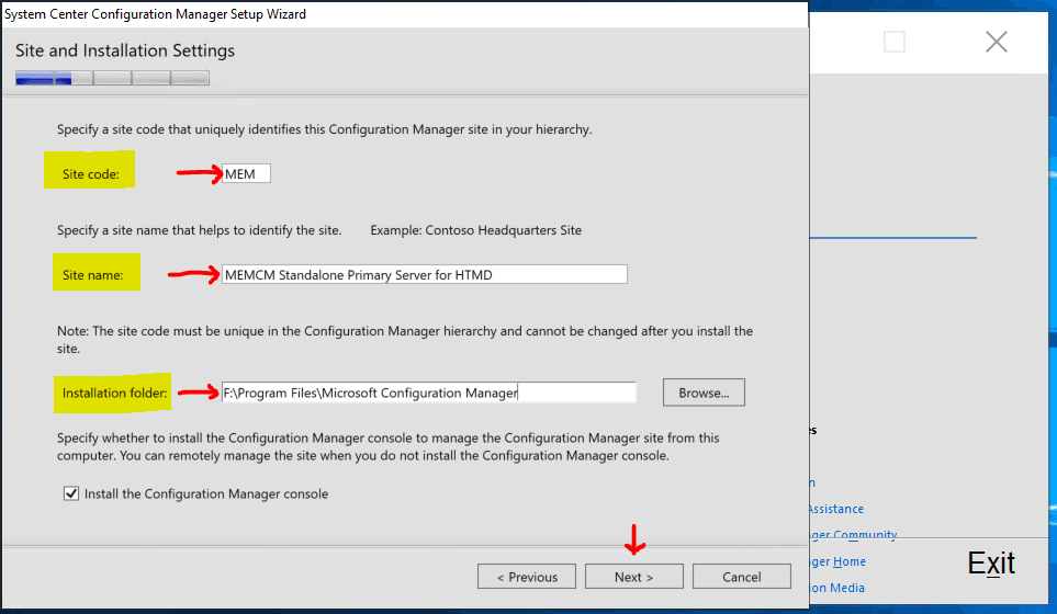 Site and Installation Settings Microsoft Endpoint Configuration Manager