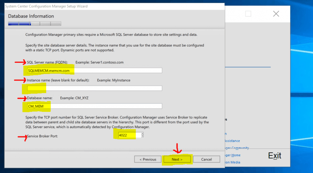 Database Connection Settings - New ConfigMgr Primary Server Installation Step by Step Guide