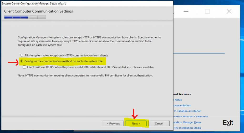 SCCM Client Communication Settings HTTP