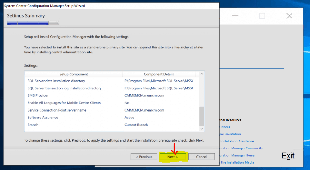 Setting Summary for Primary server Installation
