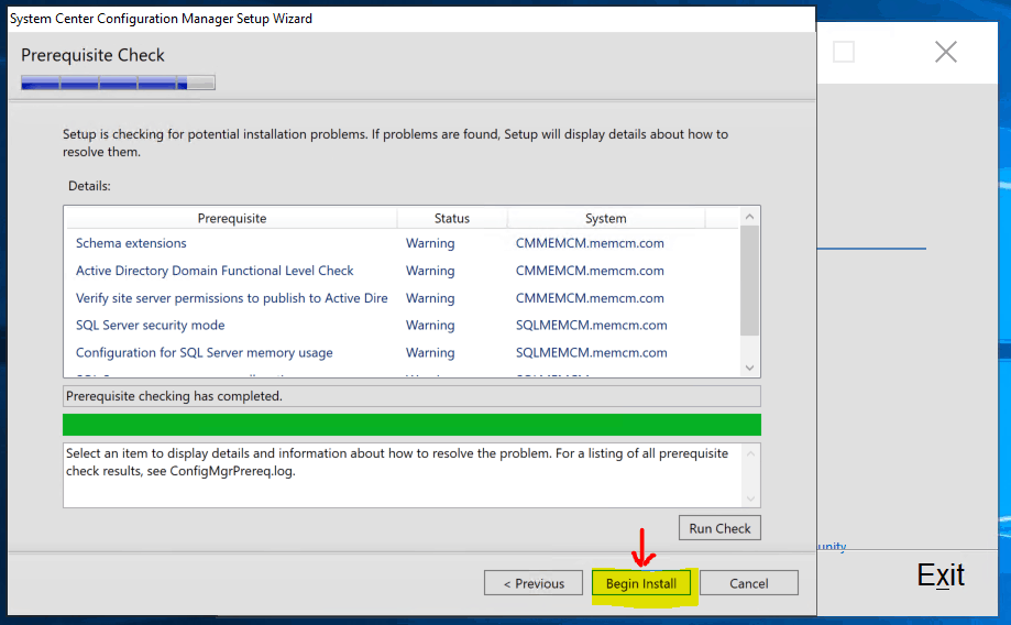 Prerequisite Check & Start the Installation of New Primary Server