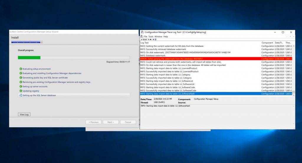 Progress - New ConfigMgr Primary Server Installation
