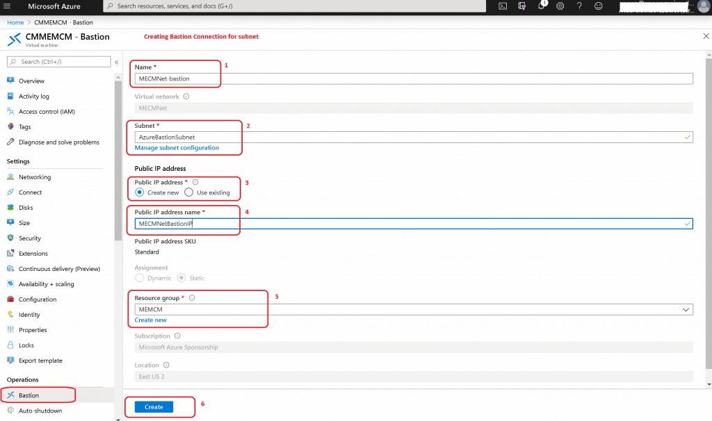 Setting Up Bastion Connection Configuration - Setup Azure Bastion Connect to SCCM Server