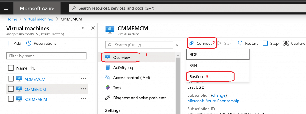 Let's connect to SCCM VM with Bastion Protocol - Setup Azure Bastion Connect to SCCM Server