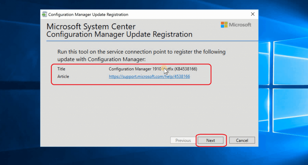 Microsoft System Center Configuration Manager Update Registration