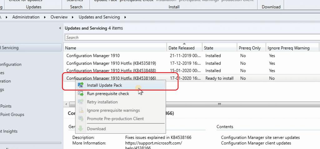 ConfigMgr KB4538166 Install Update Pack