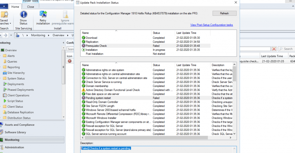 SCCM 1910 Failed Update
