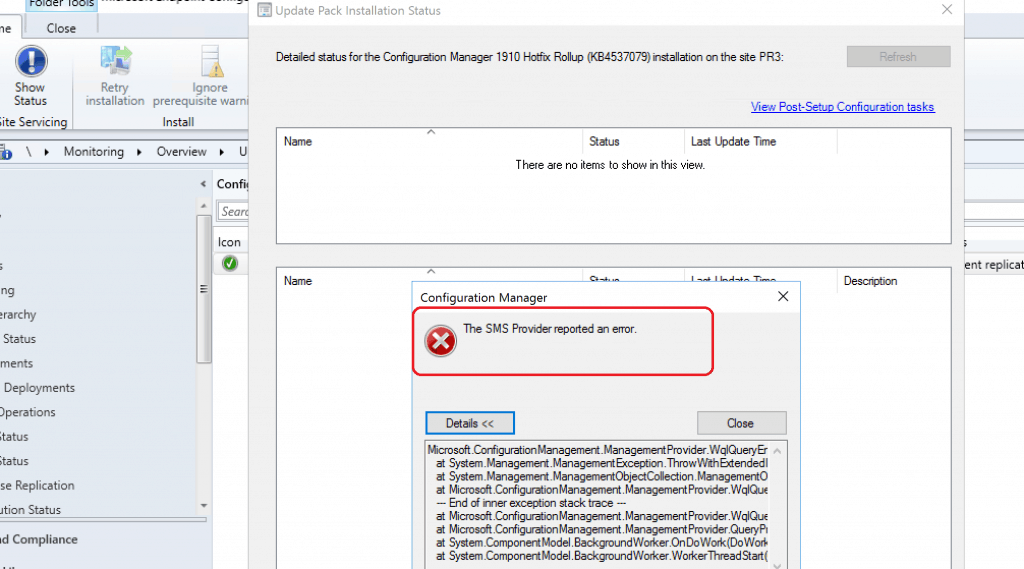 SMS Provider Error During ConfigMgr 1910 Upgrade?