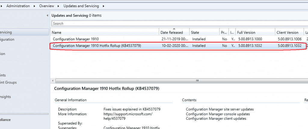 SCCM 1910 Rollup Update KB 4537079| Reboot Issues|ConfigMgr 1