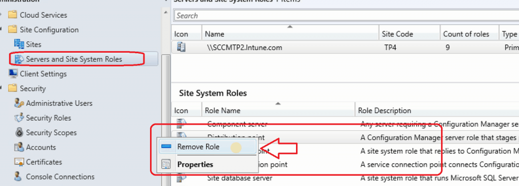 Remove Distribution Point Role