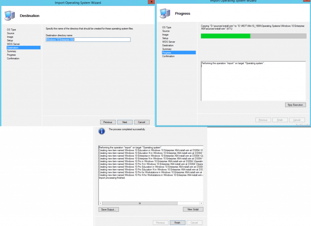 Finish MDT Import Operating System Wizard
