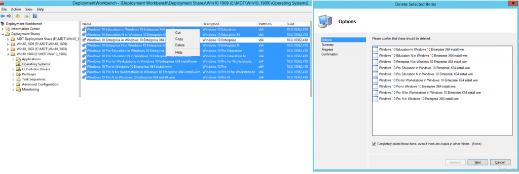 Remove unwanted versions Image Creation Using MDT