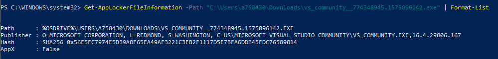Windows Information Protection - Get-AppLockerFileInformation cmdlet looks for Publsiher info from the app manifest