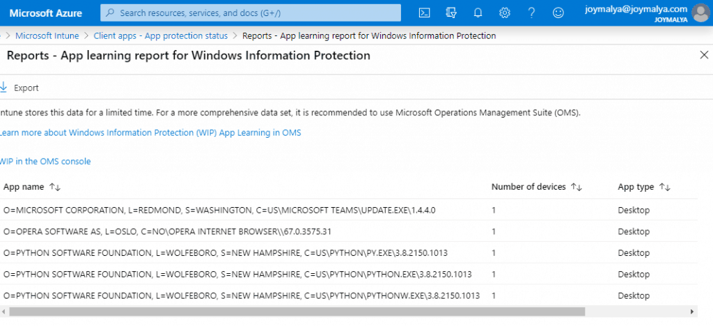 Windows Information Protection - App learning report for WIP gives you an insight to the applications that are not part of WIP policy but are used to access work tagged data.