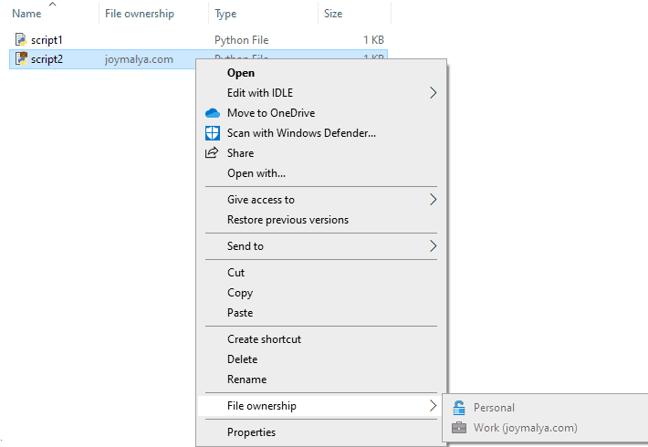 Windows Information Protection - Cannot change ownership of Work file when EDP is set to Blocked mode