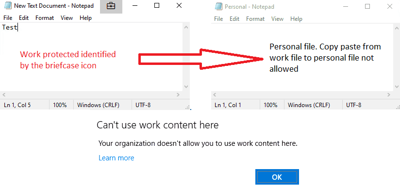 Windows Information Protection - EDP Blocked mode - Copy/Paste action is not allowed from work file to personal file