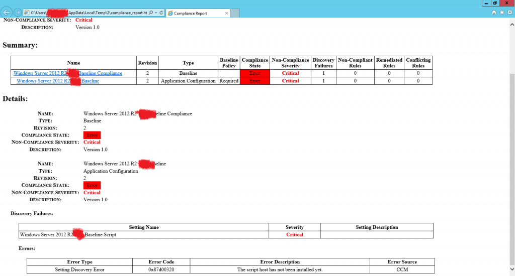 FIX DCM Compliance Rules Error 0x87d00320 with ConfigMgr