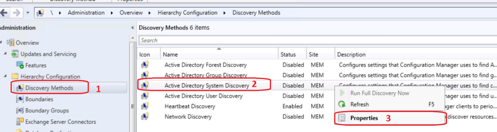 Active Directory System Discovery  - Properties