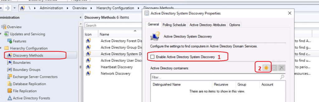Enable Active Directory System Discovery