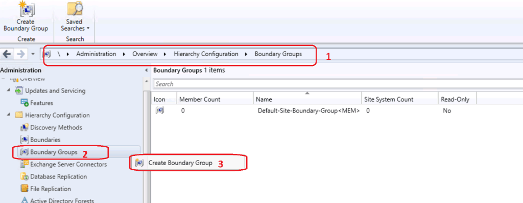 Create New Boundary Group to create new group - Create Boundary Groups in ConfigMgr