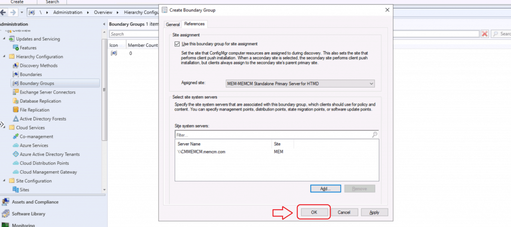 Create Boundary Groups in ConfigMgr - Completed