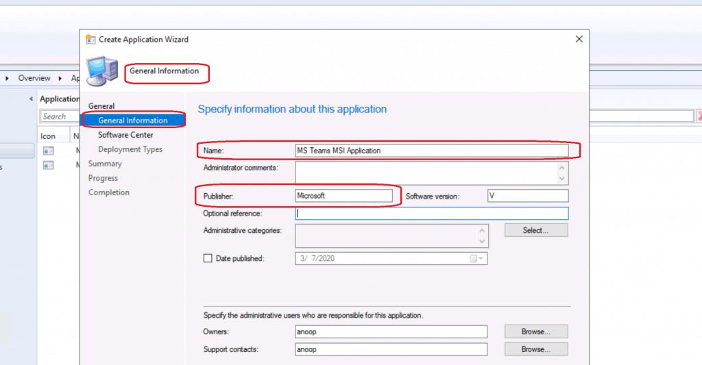 Enter the name of the application you want to deploy - MS Teams MSI Application