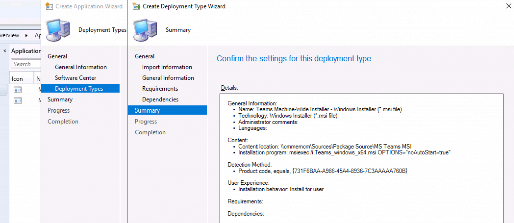 Confirm the Settings of Teams Deployment configuration - Deploy MS Teams MSI Using SCCM